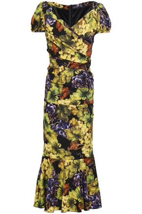 DOLCE & GABBANA Wrap-effect ruched printed silk-blend midi dress