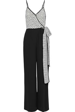 DIANE VON FURSTENBERG Barry printed silk and crepe wrap jumpsuit