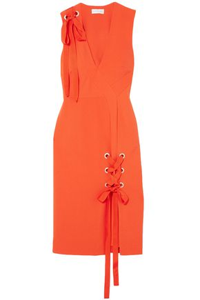 REBECCA VALLANCE Lace-up cutout crepe dress