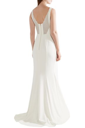 REBECCA VALLANCE Corded lace-paneled stretch-crepe gown