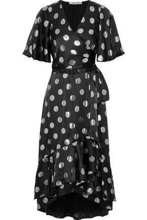 DIANE VON FURSTENBERG Sareth fil coupé silk-blend satin midi wrap dress