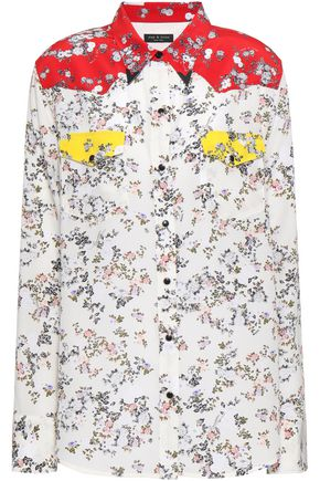 RAG & BONE Embellished printed silk crepe de chine shirt