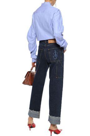BURBERRY Pintucked cotton-chambray shirt