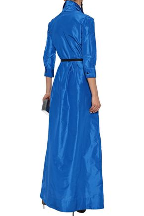 OSCAR DE LA RENTA Belted pleated silk-taffeta gown