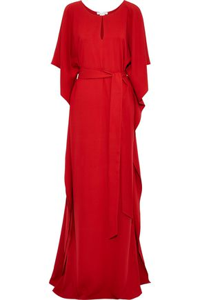 OSCAR DE LA RENTA Draped stretch-silk gown