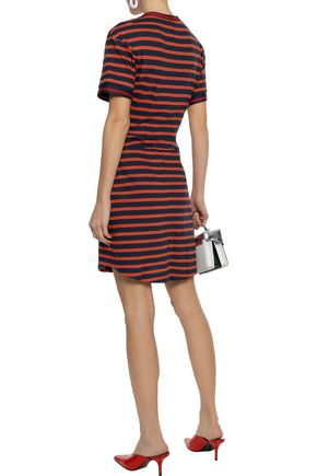DEREK LAM 10 CROSBY Striped pointelle-knit cotton mini dress