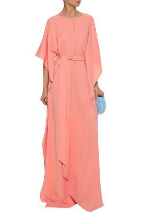 OSCAR DE LA RENTA Draped stretch-silk gown