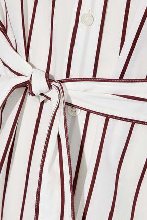 DEREK LAM Tie-front pinstriped cotton-poplin shirt