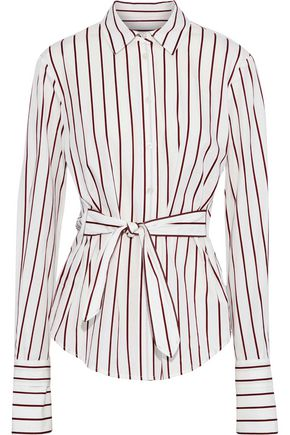 DEREK LAM Tie-front pinstriped cotton-poplin shirt