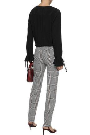 DEREK LAM 10 CROSBY Picot-trimmed crepe de chine blouse
