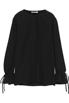 DEREK LAM 10 CROSBY Bow-detailed crepe de chine blouse