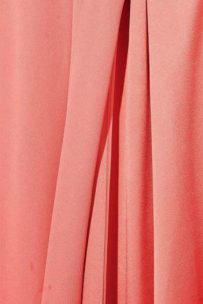 OSCAR DE LA RENTA Cape-back washed-crepe gown