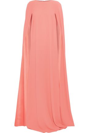 OSCAR DE LA RENTA Cape-back washed-crepe gown
