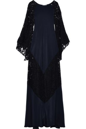 OSCAR DE LA RENTA Corded lace and silk crepe de chine gown