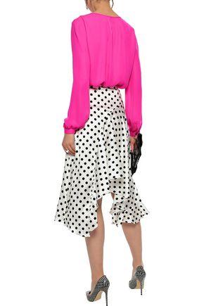 OSCAR DE LA RENTA Gathered silk crepe de chine blouse