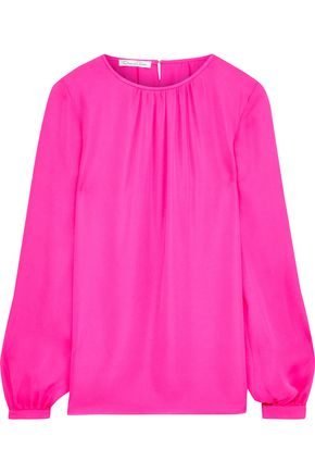 OSCAR DE LA RENTA Gathered silk crepe de chine blouse