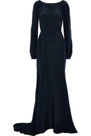 OSCAR DE LA RENTA Open-back belted silk gown