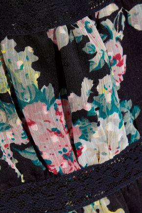W118 by WALTER BAKER Hansen cold-shoulder floral-print fil coupé georgette dress