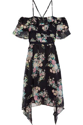 W118 by WALTER BAKER Hansen cold-shoulder floral-print fil coupé georgette dress