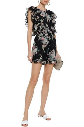 W118 by WALTER BAKER Paradis ruffle-trimmed floral-print fil coupé georgette playsuit