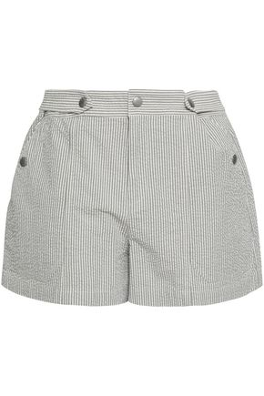 RAG & BONE Striped cotton-seersucker shorts