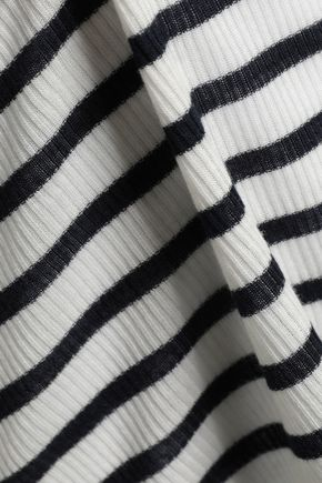 RAG & BONE Madison striped ribbed Tencel and wool-blend top