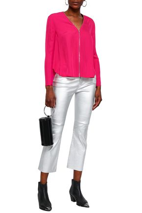 RAG & BONE Paneled twill and knitted blouse