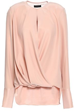 RAG & BONE | Rag & Bone Wrap-Effect Washed-Silk Blouse | Goxip