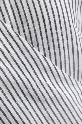 RAG & BONE Striped cotton and linen-blend wrap top