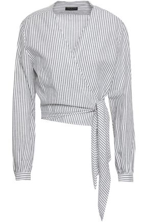 RAG & BONE Striped cotton and linen-blend wrap top