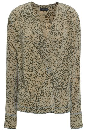 RAG & BONE Wrap-effect leopard-print washed-silk top