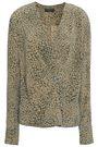 RAG & BONE Wrap-effect leopard-print washed-silk top
