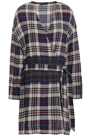 RAG & BONE Belted checked woven mini dress