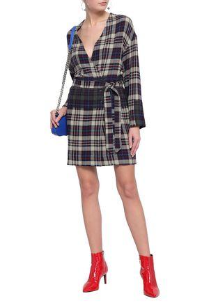 RAG & BONE Belted checked woven mini dress