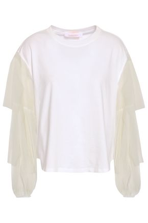 SEE BY CHLOÉ Point d'esprit-paneled cotton-jersey top