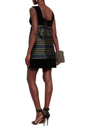 ISA ARFEN Cotton-blend velvet and striped satin-twill mini dress