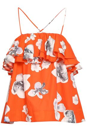 MSGM Ruffled floral-print cotton-poplin top
