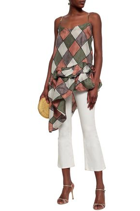 ISA ARFEN Asymmetric draped printed silk top