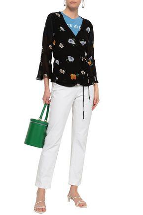 GANNI Floral-print georgette wrap top
