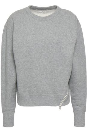 RAG & BONE Zip-detailed mélange cotton-terry sweatshirt