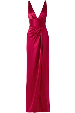 NAEEM KHAN Wrap-effect silk-satin gown