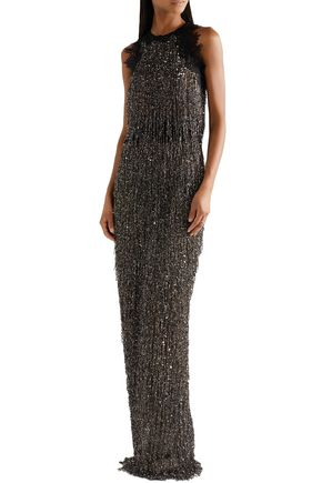 NAEEM KHAN Guipure lace-trimmed embellished tulle gown