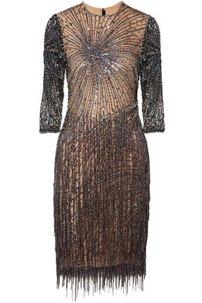 NAEEM KHAN Embellished tulle mini dress