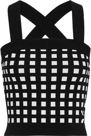 DEREK LAM 10 CROSBY Cropped intarsia-knit top