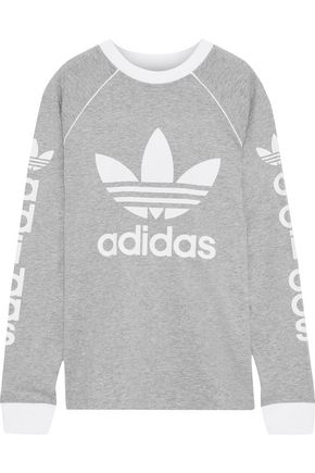 ADIDAS ORIGINALS OG logo-print mélange cotton-jersey top