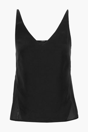 J BRAND Lucy washed-silk and chiffon camisole