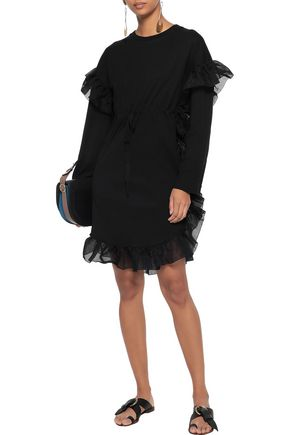 SEE BY CHLOÉ Organza-trimmed cotton-jersey mini dress