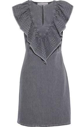 SEE BY CHLOÉ Ruffled pintucked denim mini dress