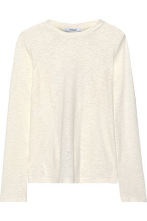 DEREK LAM 10 CROSBY Cutout slub cotton and linen-blend top