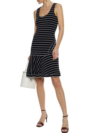 DEREK LAM 10 CROSBY Fluted striped ribbed cotton-jersey dress